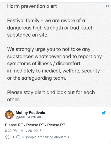 Twitter post by @MutinyFestivals: Please RT - Please RT - Please RT