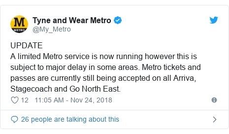 Twitter post by @My_Metro: UPDATEA limited Metro service is now running however this is subject to major delay in some areas. Metro tickets and passes are currently still being accepted on all Arriva, Stagecoach and Go North East.
