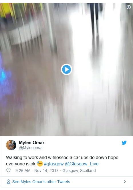 Twitter post by @Mylesomar: Walking to work and witnessed a car upside down hope everyone is ok 😓 #glasgow @Glasgow_Live