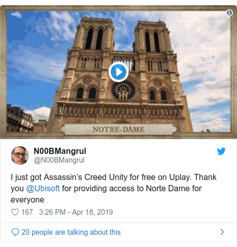 Twitter post by @N00BMangrul: I just got Assassin's Creed Unity for free on Uplay. Thank you @Ubisoft for providing access to Norte Dame for everyone
