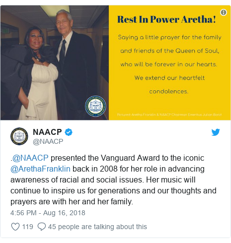Twitter post by @NAACP: .@NAACP presented the Vanguard Award to the iconic @ArethaFranklin back in 2008 for her role in advancing awareness of racial and social issues. Her music will continue to inspire us for generations and our thoughts and prayers are with her and her family.