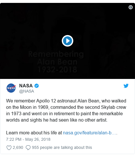 Twitter post by @NASA: We remember Apollo 12 astronaut Alan Bean, who walked on the Moon in 1969, commanded the second Skylab crew in 1973 and went on in retirement to paint the remarkable worlds and sights he had seen like no other artist. Learn more about his life at .