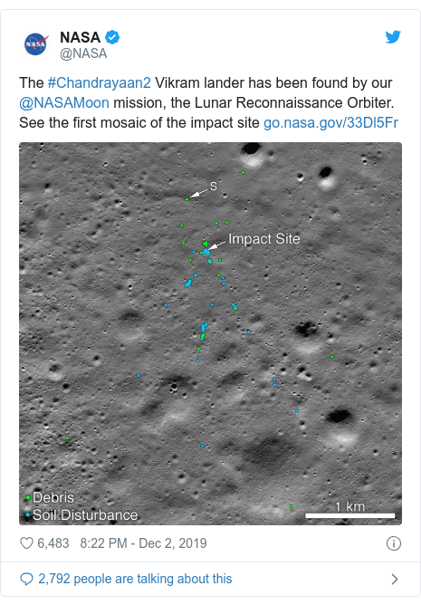 Twitter post by @NASA: The #Chandrayaan2 Vikram lander has been found by our @NASAMoon mission, the Lunar Reconnaissance Orbiter. See the first mosaic of the impact site