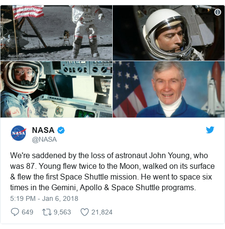 Twitter post by @NASA: We're saddened by the loss of astronaut John Young, who was 87. Young flew twice to the Moon, walked on its surface & flew the first Space Shuttle mission. He went to space six times in the Gemini, Apollo & Space Shuttle programs.