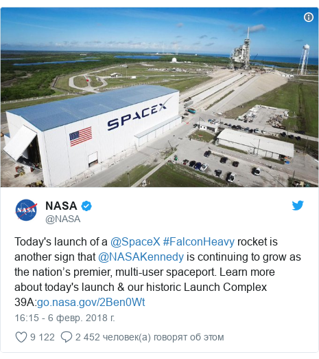 Twitter пост, автор: @NASA: Today's launch of a @SpaceX #FalconHeavy rocket is another sign that @NASAKennedy is continuing to grow as the nation's premier, multi-user spaceport. Learn more about today's launch & our historic Launch Complex 39A