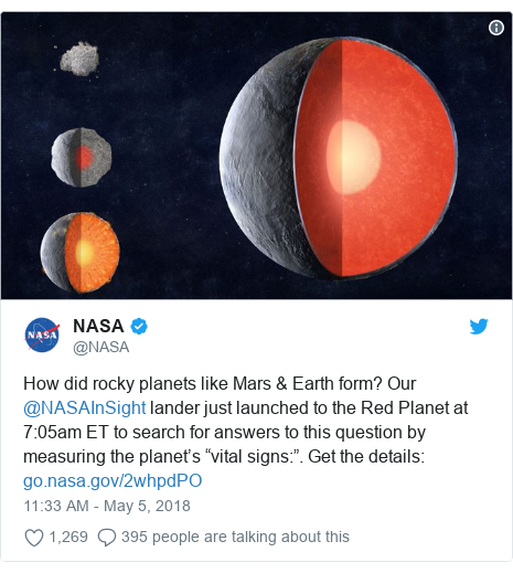 "Twitter post by @NASA: How did rocky planets like Mars & Earth form? Our @NASAInSight lander just launched to the Red Planet at 7 05am ET to search for answers to this question by measuring the planet's ""vital signs "". Get the details"