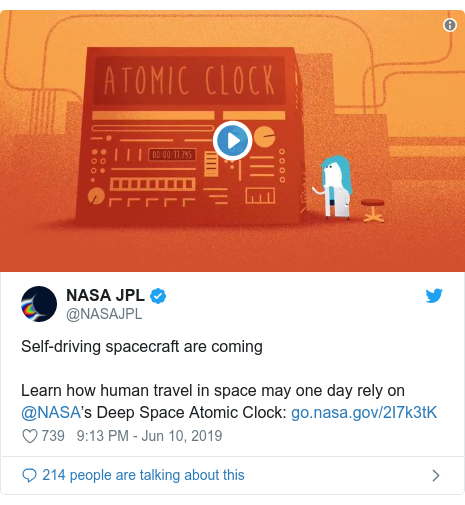 Twitter post by @NASAJPL: Self-driving spacecraft are comingLearn how human travel in space may one day rely on @NASA's Deep Space Atomic Clock