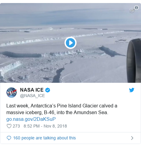 Twitter post by @NASA_ICE: Last week, Antarctica's Pine Island Glacier calved a massive iceberg, B-46, into the Amundsen Sea.