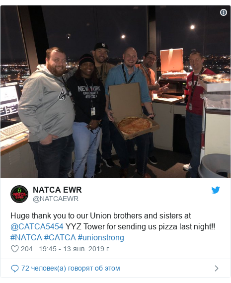 Twitter пост, автор: @NATCAEWR: Huge thank you to our Union brothers and sisters at @CATCA5454 YYZ Tower for sending us pizza last night!! #NATCA #CATCA #unionstrong