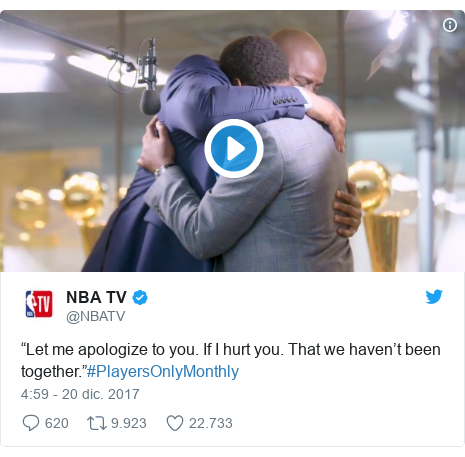 """Publicación de Twitter por @NBATV: """"Let me apologize to you. If I hurt you. That we haven't been together.""""#PlayersOnlyMonthly"""