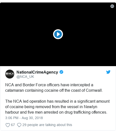 Twitter post by @NCA_UK: NCA and Border Force officers have intercepted a catamaran containing cocaine off the coast of Cornwall.The NCA led operation has resulted in a significant amount of cocaine being removed from the vessel in Newlyn harbour and five men arrested on drug trafficking offences.