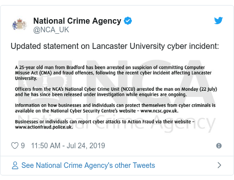 Twitter post by @NCA_UK: Updated statement on Lancaster University cyber incident