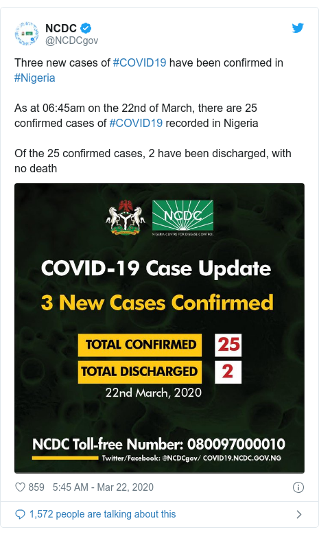 Twitter post by @NCDCgov: Three new cases of #COVID19 have been confirmed in #NigeriaAs at 06 45am on the 22nd of March, there are 25 confirmed cases of #COVID19 recorded in NigeriaOf the 25 confirmed cases, 2 have been discharged, with no death