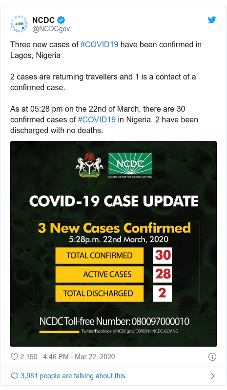 Twitter post by @NCDCgov: Three new cases of #COVID19 have been confirmed in Lagos, Nigeria2 cases are returning travellers and 1 is a contact of a confirmed case. As at 05 28 pm on the 22nd of March, there are 30 confirmed cases of #COVID19 in Nigeria. 2 have been discharged with no deaths.