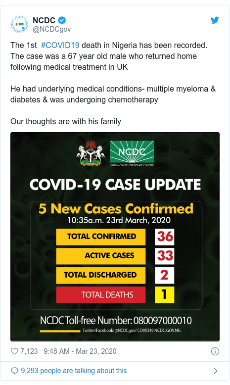 Twitter post by @NCDCgov: The 1st  #COVID19 death in Nigeria has been recorded. The case was a 67 year old male who returned home following medical treatment in UKHe had underlying medical conditions- multiple myeloma & diabetes & was undergoing chemotherapyOur thoughts are with his family