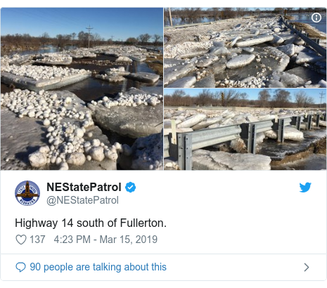 Twitter post by @NEStatePatrol: Highway 14 south of Fullerton.