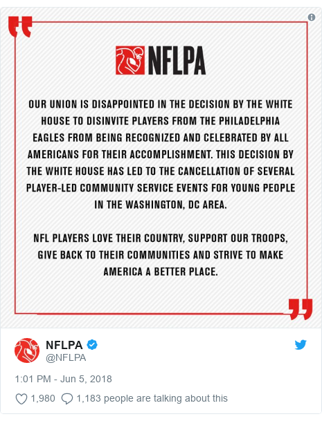 Twitter post by @NFLPA: