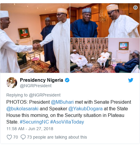 Twitter post by @NGRPresident: PHOTOS  President @MBuhari met with Senate President @bukolasaraki and Speaker @YakubDogara at the State House this morning, on the Security situation in Plateau State. #SecuringNC #AsoVillaToday