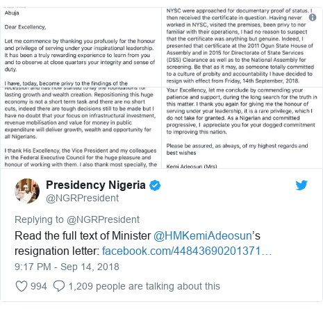 Twitter post by @NGRPresident: Read the full text of Minister @HMKemiAdeosun's resignation letter