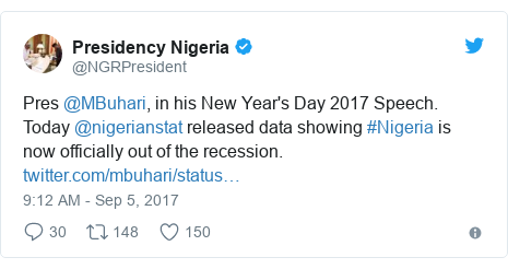 Twitter post by @NGRPresident: Pres @MBuhari, in his New Year's Day 2017 Speech. Today @nigerianstat released data showing #Nigeria is now officially out of the recession.