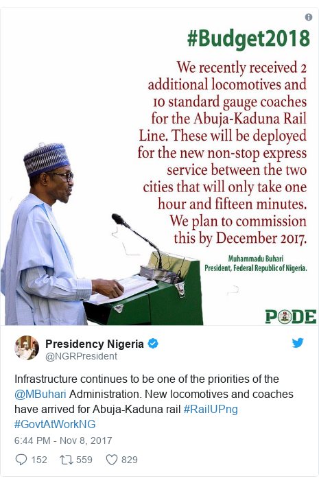 Twitter post by @NGRPresident: Infrastructure continues to be one of the priorities of the @MBuhari Administration. New locomotives and coaches have arrived for Abuja-Kaduna rail #RailUPng #GovtAtWorkNG