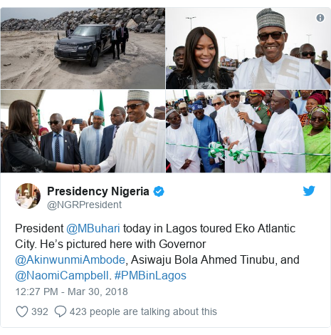 Twitter post by @NGRPresident: President @MBuhari today in Lagos toured Eko Atlantic City. He's pictured here with Governor @AkinwunmiAmbode, Asiwaju Bola Ahmed Tinubu, and @NaomiCampbell. #PMBinLagos