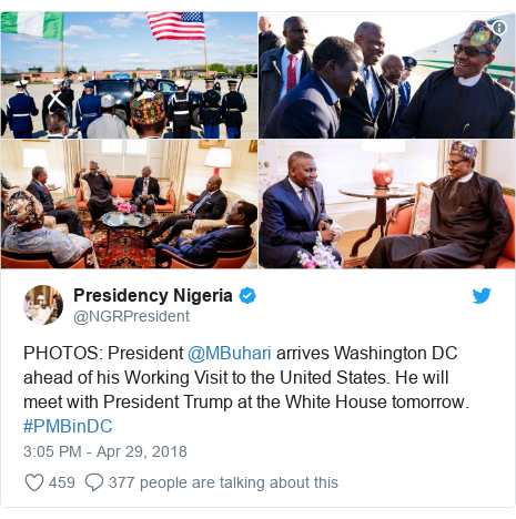 Twitter post by @NGRPresident: PHOTOS  President @MBuhari arrives Washington DC ahead of his Working Visit to the United States. He will meet with President Trump at the White House tomorrow. #PMBinDC