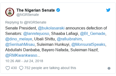 Twitter post by @NGRSenate: Senate President, @bukolasaraki announces defection of Senators  @lanretejuoso, Shaaba Lafiagi, @BI_Gemade, @dino_melaye, Ubali Shittu, @rafiuibrahim, @SenIsahMisau, Suleiman Hunkuyi, @MonsuratSpeaks, Abdullahi Danbaba, Bayero Nafada, Suleiman Nazif, @RMKwankwaso...