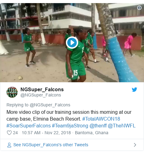 Twitter post by @NGSuper_Falcons: More video clip of our training session this morning at our camp base, Elmina Beach Resort. #TotalAWCON18 #SoarSuperFalcons #Team9jaStrong @thenff @TheNWFL