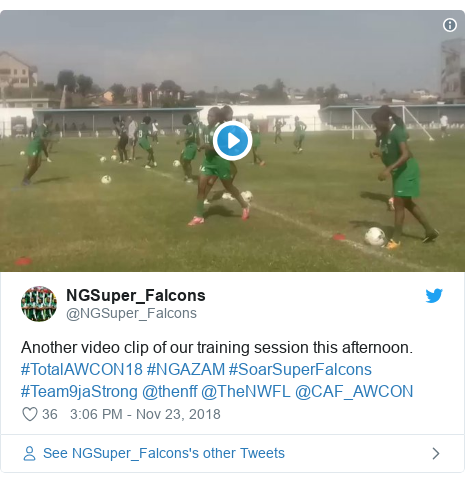 Twitter post by @NGSuper_Falcons: Another video clip of our training session this afternoon. #TotalAWCON18 #NGAZAM #SoarSuperFalcons #Team9jaStrong @thenff @TheNWFL @CAF_AWCON