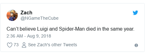 Twitter post by @NGameTheCube: Can't believe Luigi and Spider-Man died in the same year.