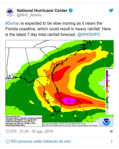 Publicación de Twitter por @NHC_Atlantic: #Dorian is expected to be slow moving as it nears the Florida coastline, which could result in heavy rainfall. Here is the latest 7 day total rainfall forecast. @NWSWPC