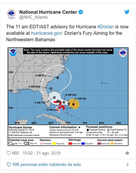 Publicación de Twitter por @NHC_Atlantic: The 11 am EDT/AST advisory for Hurricane #Dorian is now available at   Dorian's Fury Aiming for the Northwestern Bahamas