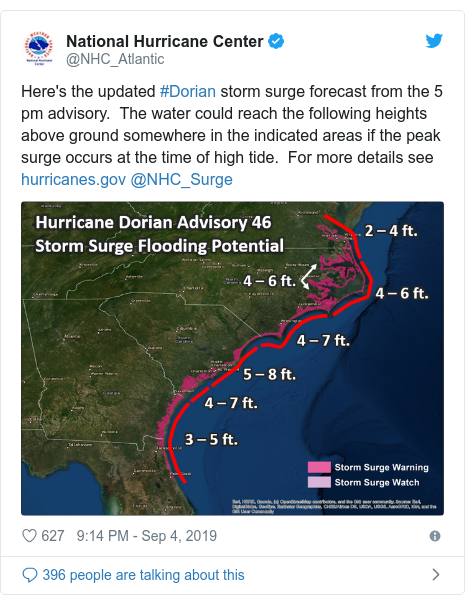 Twitter post by @NHC_Atlantic: Here's the updated #Dorian storm surge forecast from the 5 pm advisory.  The water could reach the following heights above ground somewhere in the indicated areas if the peak surge occurs at the time of high tide.  For more details see  @NHC_Surge