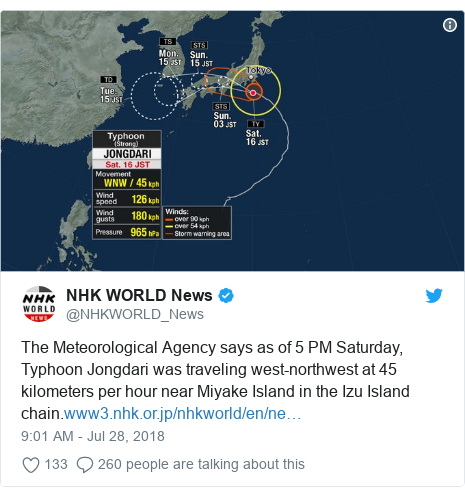Twitter post by @NHKWORLD_News: The Meteorological Agency says as of 5 PM Saturday, Typhoon Jongdari was traveling west-northwest at 45 kilometers per hour near Miyake Island in the Izu Island chain.