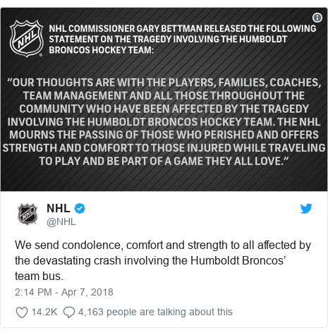Twitter post by @NHL: We send condolence, comfort and strength to all affected by the devastating crash involving the Humboldt Broncos' team bus.