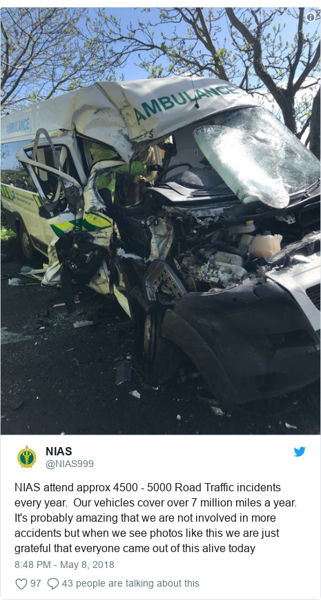 Twitter post by @NIAS999: NIAS attend approx 4500 - 5000 Road Traffic incidents every year.  Our vehicles cover over 7 million miles a year. It's probably amazing that we are not involved in more accidents but when we see photos like this we are just grateful that everyone came out of this alive today