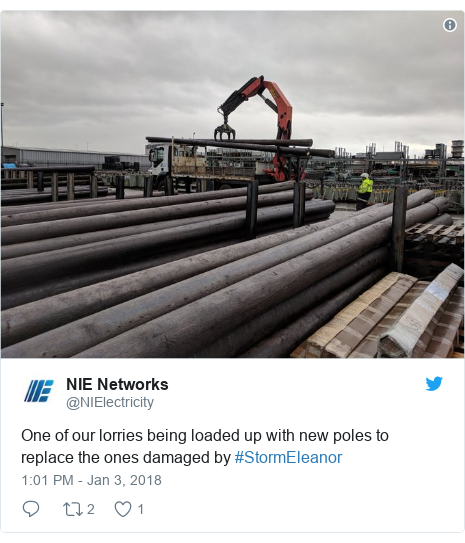 Twitter post by @NIElectricity: One of our lorries being loaded up with new poles to replace the ones damaged by #StormEleanor