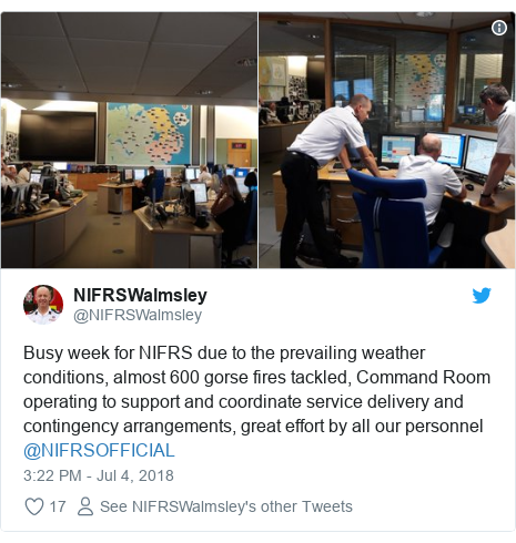 Twitter post by @NIFRSWalmsley: Busy week for NIFRS due to the prevailing weather conditions, almost 600 gorse fires tackled, Command Room operating to support and coordinate service delivery and contingency arrangements, great effort by all our personnel @NIFRSOFFICIAL