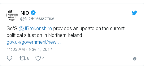 Twitter post by @NIOPressOffice: SofS @JBrokenshire provides an update on the current political situation in Northern Ireland.