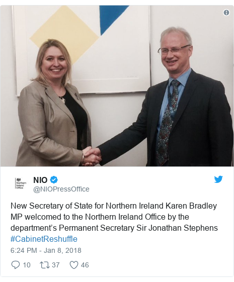 Twitter post by @NIOPressOffice: New Secretary of State for Northern Ireland Karen Bradley MP welcomed to the Northern Ireland Office by the department's Permanent Secretary Sir Jonathan Stephens #CabinetReshuffle