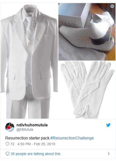 Twitter post by @NMutula: Resurrection starter pack #ResurrectionChallenge