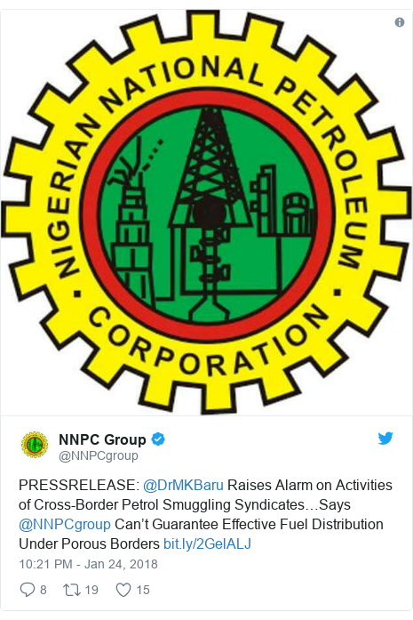 Twitter post by @NNPCgroup: PRESSRELEASE  @DrMKBaru Raises Alarm on Activities of Cross-Border Petrol Smuggling Syndicates…Says @NNPCgroup Can't Guarantee Effective Fuel Distribution Under Porous Borders