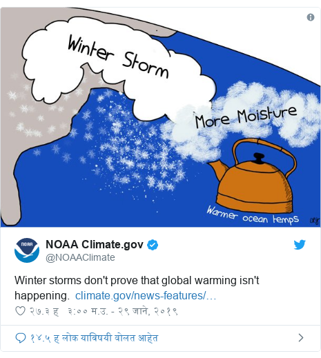 Twitter post by @NOAAClimate: Winter storms don't prove that global warming isn't happening.