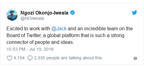 Twitter wallafa daga @NOIweala: Excited to work with @Jack and an incredible team on the Board of Twitter, a global platform that is such a strong connector of people and ideas.