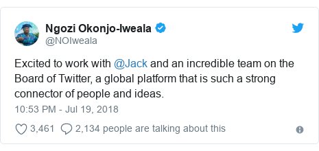 Twitter post by @NOIweala: Excited to work with @Jack and an incredible team on the Board of Twitter, a global platform that is such a strong connector of people and ideas.