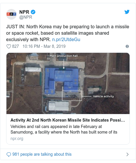 Ujumbe wa Twitter wa @NPR: JUST IN  North Korea may be preparing to launch a missile or space rocket, based on satellite images shared exclusively with NPR.
