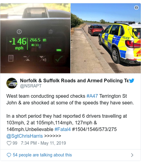 Twitter post by @NSRAPT: West team conducting speed checks #A47 Terrington St John & are shocked at some of the speeds they have seen.In a short period they had reported 6 drivers travelling at 103mph, 2 at 105mph,114mph, 127mph & 146mph.Unbelievable #Fatal4 #1504/1546/573/275 @SgtChrisHarris >>>>>>