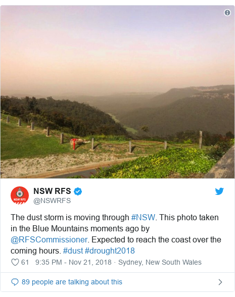 Twitter post by @NSWRFS: The dust storm is moving through #NSW. This photo taken in the Blue Mountains moments ago by @RFSCommissioner. Expected to reach the coast over the coming hours. #dust #drought2018