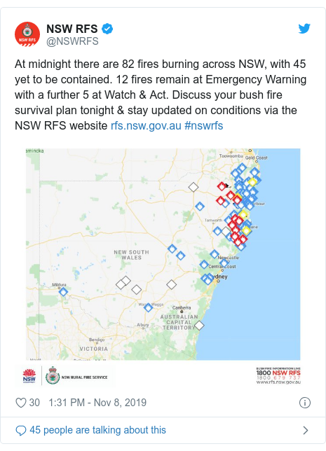 Twitter post by @NSWRFS: At midnight there are 82 fires burning across NSW, with 45 yet to be contained. 12 fires remain at Emergency Warning with a further 5 at Watch & Act. Discuss your bush fire survival plan tonight & stay updated on conditions via the NSW RFS website  #nswrfs